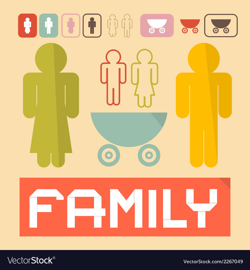 Family icons - man woman children and baby vector | Price: 1 Credit (USD $1)