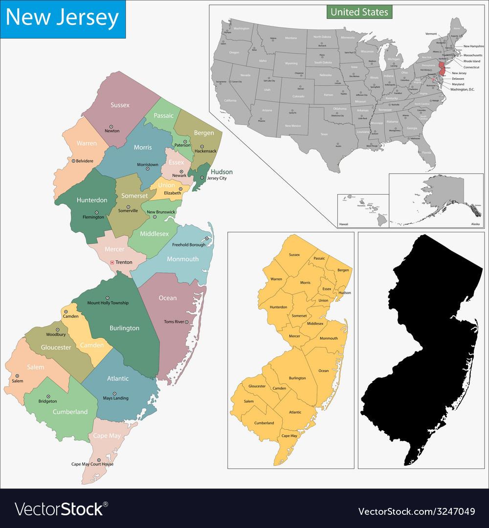 New jersey map vector | Price: 1 Credit (USD $1)