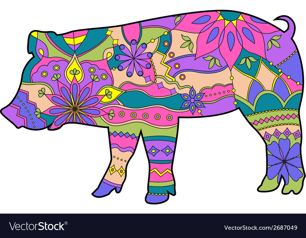 Pig colorful vector | Price: 1 Credit (USD $1)
