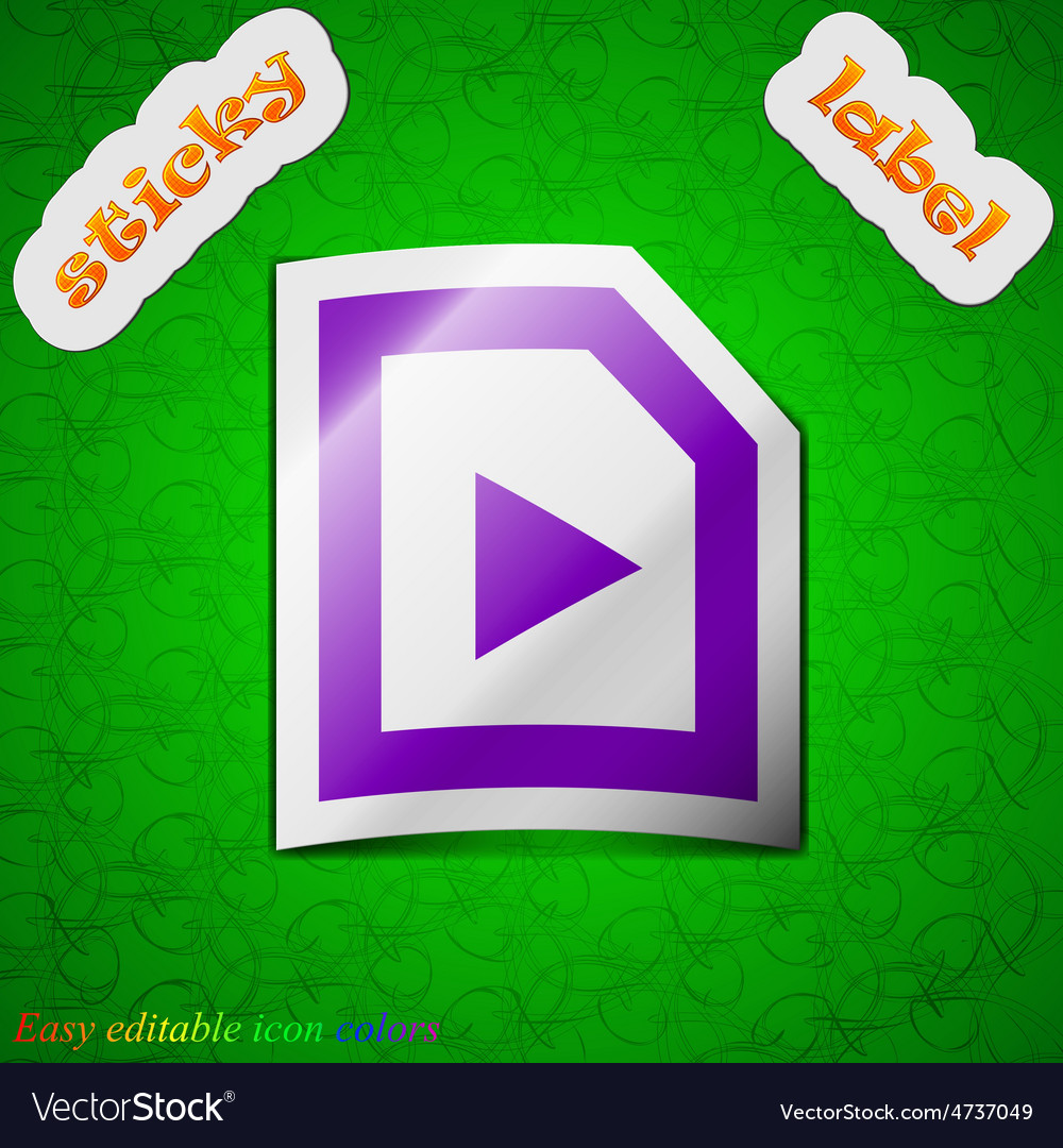 Play icon sign symbol chic colored sticky label on vector   Price: 1 Credit (USD $1)