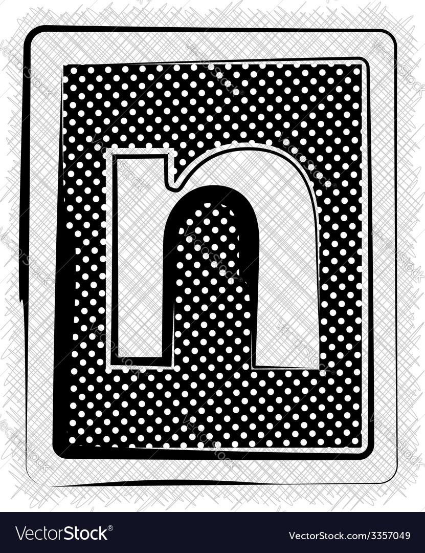 Polka dot font letter n vector | Price: 1 Credit (USD $1)