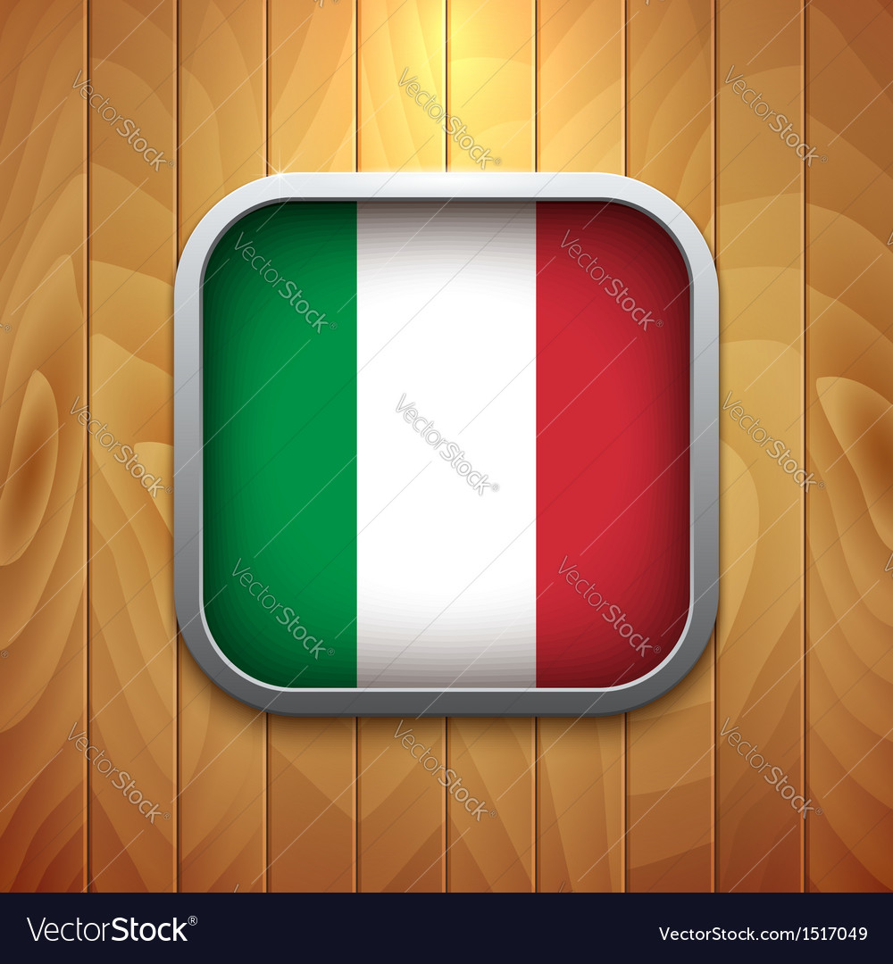 Rounded square italian flag icon on wood texture vector | Price: 1 Credit (USD $1)