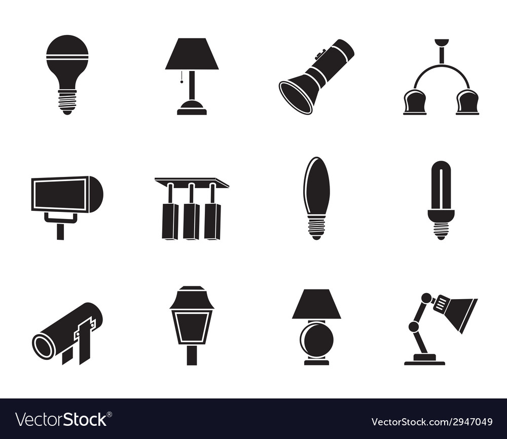Silhouette different kind of lighting equipment vector | Price: 1 Credit (USD $1)