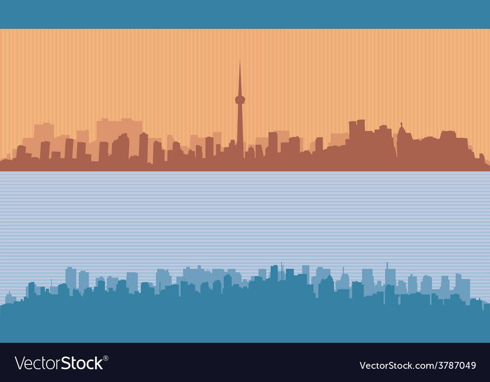 Two original contour of big cities vector | Price: 1 Credit (USD $1)