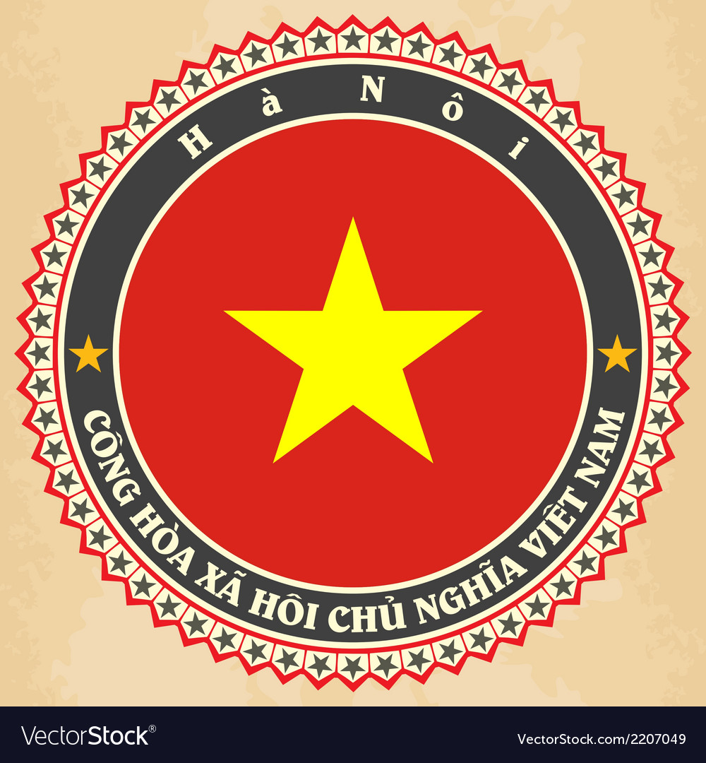 Vintage label cards of vietnam flag vector | Price: 1 Credit (USD $1)