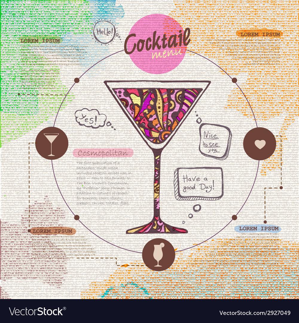Web site design decorative cocktail menu design vector | Price: 1 Credit (USD $1)