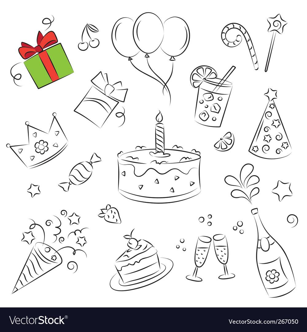 Birthday set vector | Price: 1 Credit (USD $1)