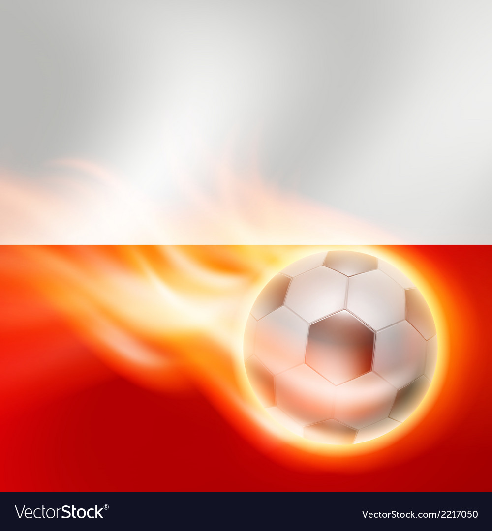 Burning football on poland flag background vector | Price: 1 Credit (USD $1)
