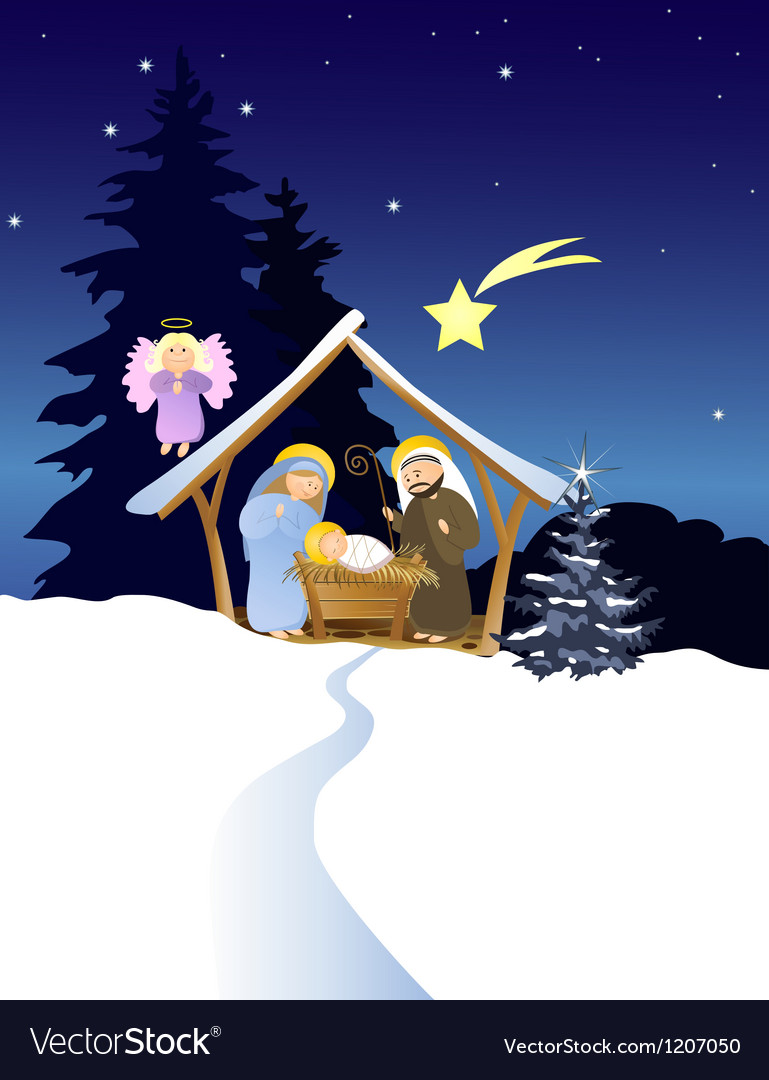 Christmas nativity scene vector | Price: 3 Credit (USD $3)