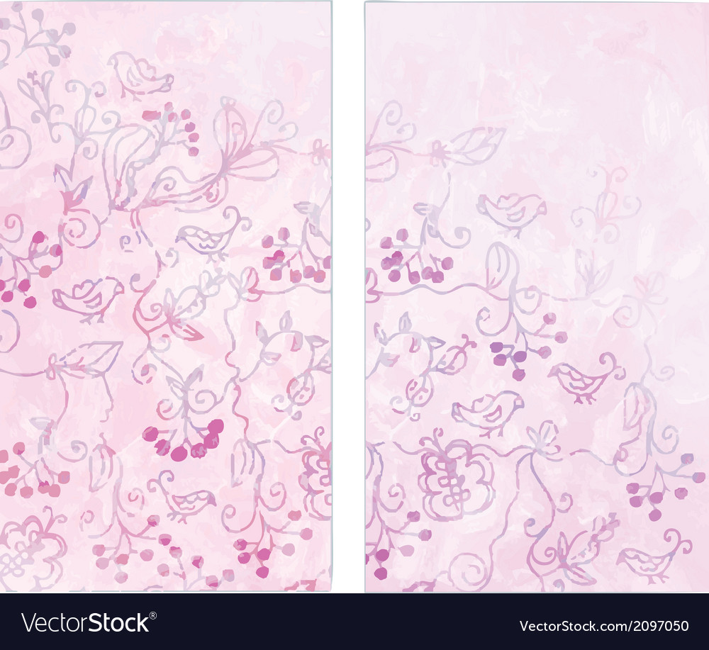 Floral vertical banners with birds and berries vector | Price: 1 Credit (USD $1)