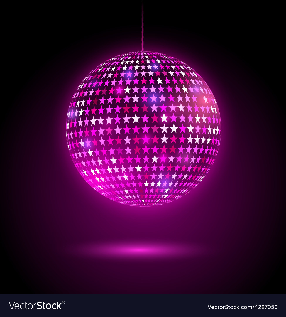 Glowing disco ball with stars vector | Price: 1 Credit (USD $1)