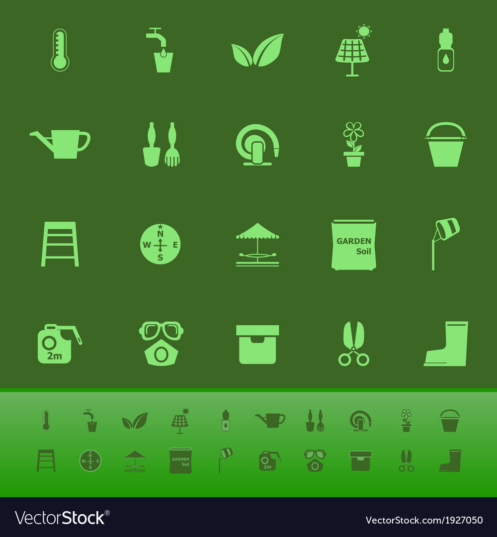Home garden color icons on green backgroundai vector | Price: 1 Credit (USD $1)