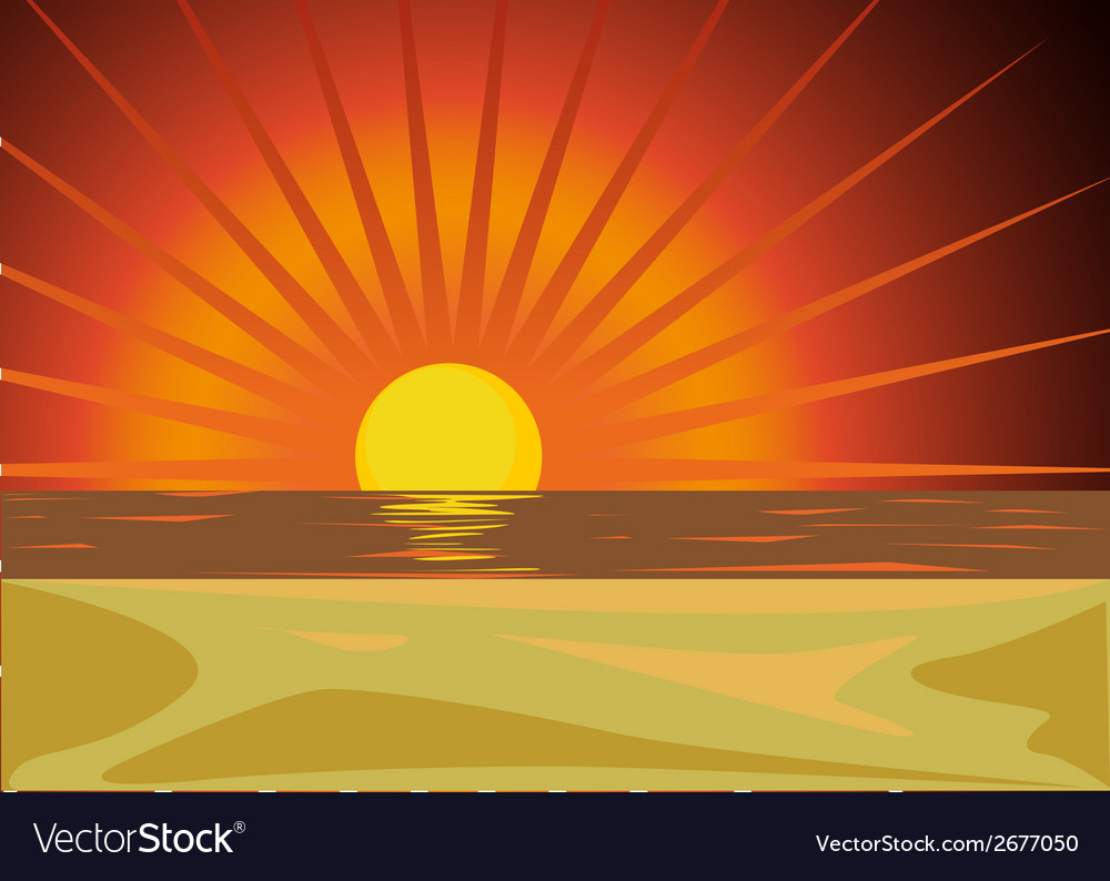 Red sunset vector | Price: 1 Credit (USD $1)
