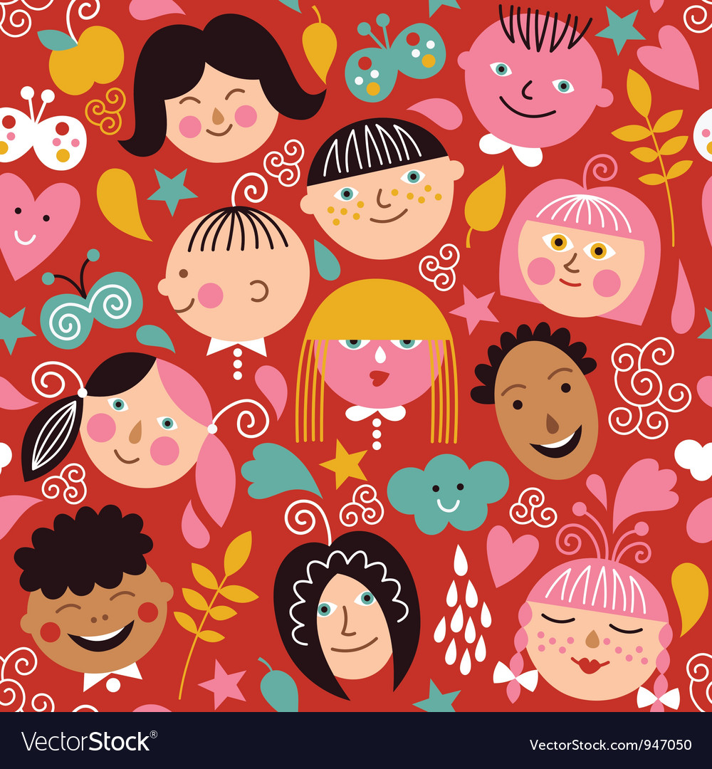 Seamless pattern with children vector | Price: 3 Credit (USD $3)
