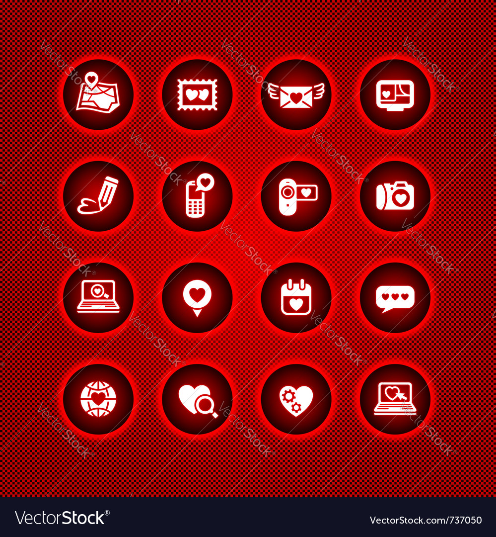 Set valentines day icons love on the internet sign vector | Price: 1 Credit (USD $1)