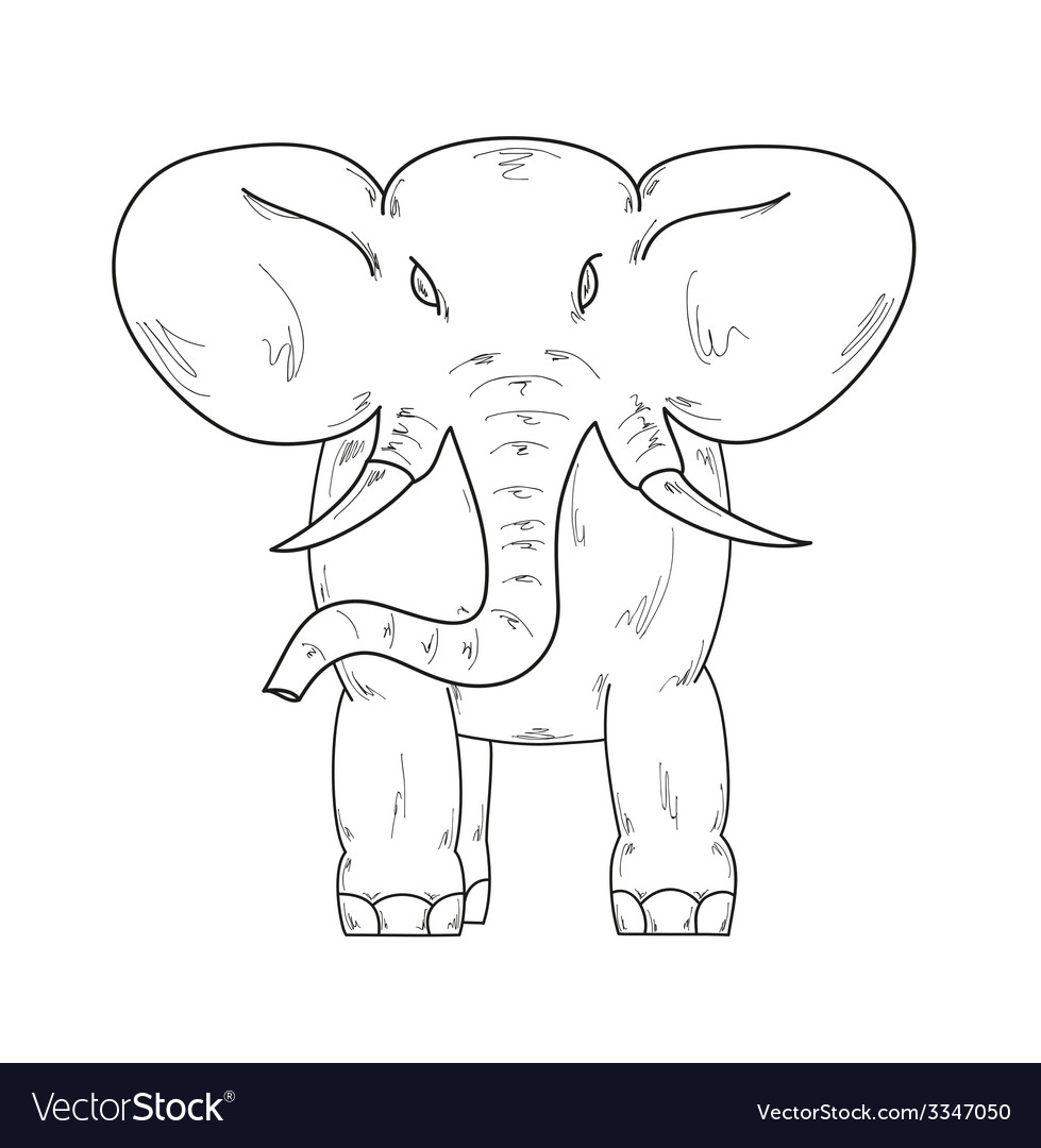 Sketch of the elephant vector | Price: 1 Credit (USD $1)