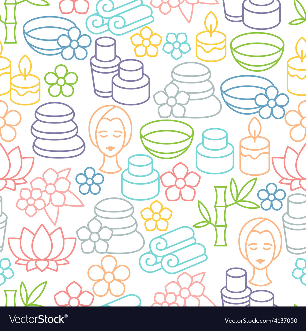 Spa and recreation seamless pattern with icons in vector | Price: 1 Credit (USD $1)