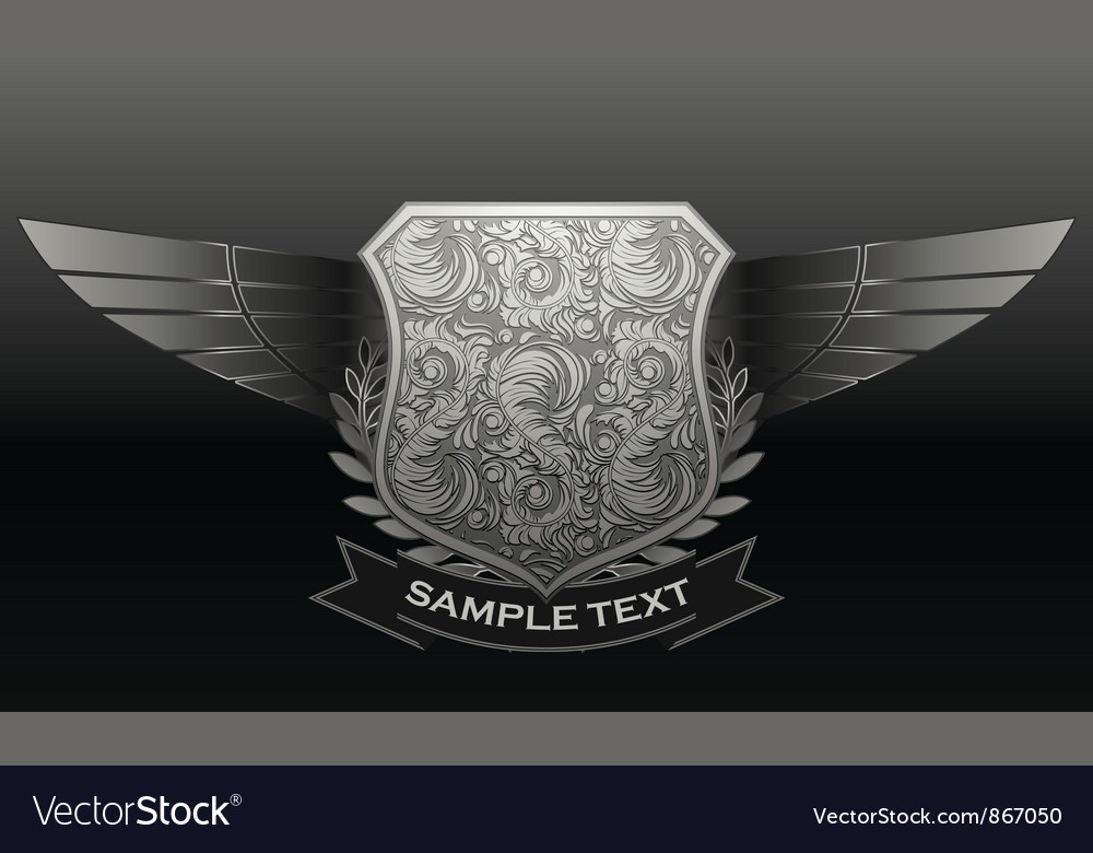 Vintage emblem with shield and wings vector | Price: 1 Credit (USD $1)