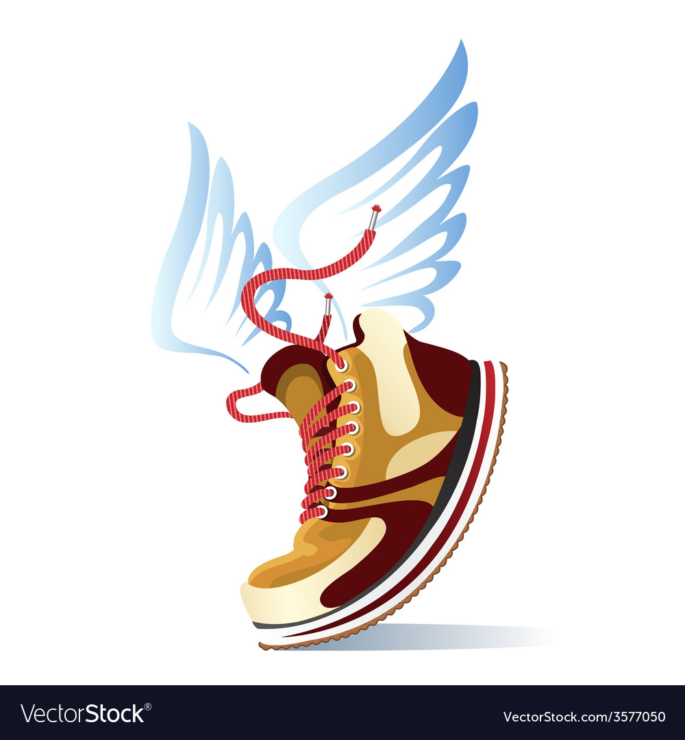 Winged sports shoe icon vector | Price: 1 Credit (USD $1)