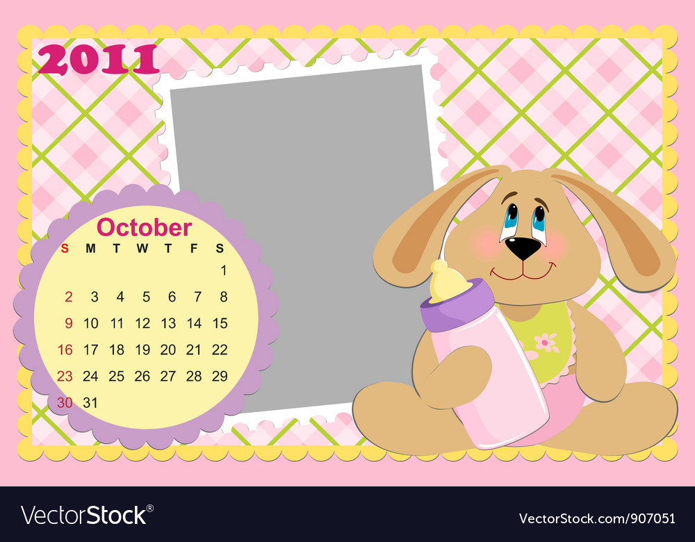 Babys monthly calendar for october 2011s vector | Price: 1 Credit (USD $1)