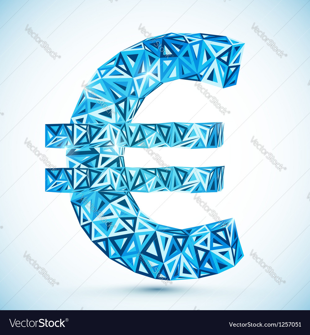 Blue abstract triangles euro symbol vector | Price: 1 Credit (USD $1)