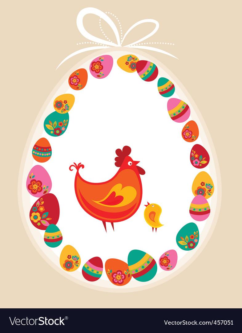 Easter frame hen vector | Price: 1 Credit (USD $1)