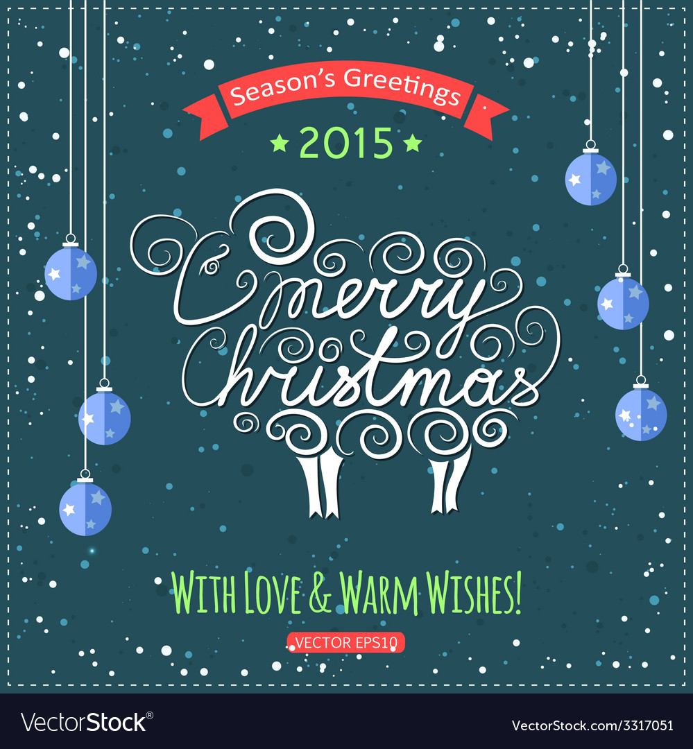 Hand drawn merry christmas lettering with a cute vector | Price: 1 Credit (USD $1)
