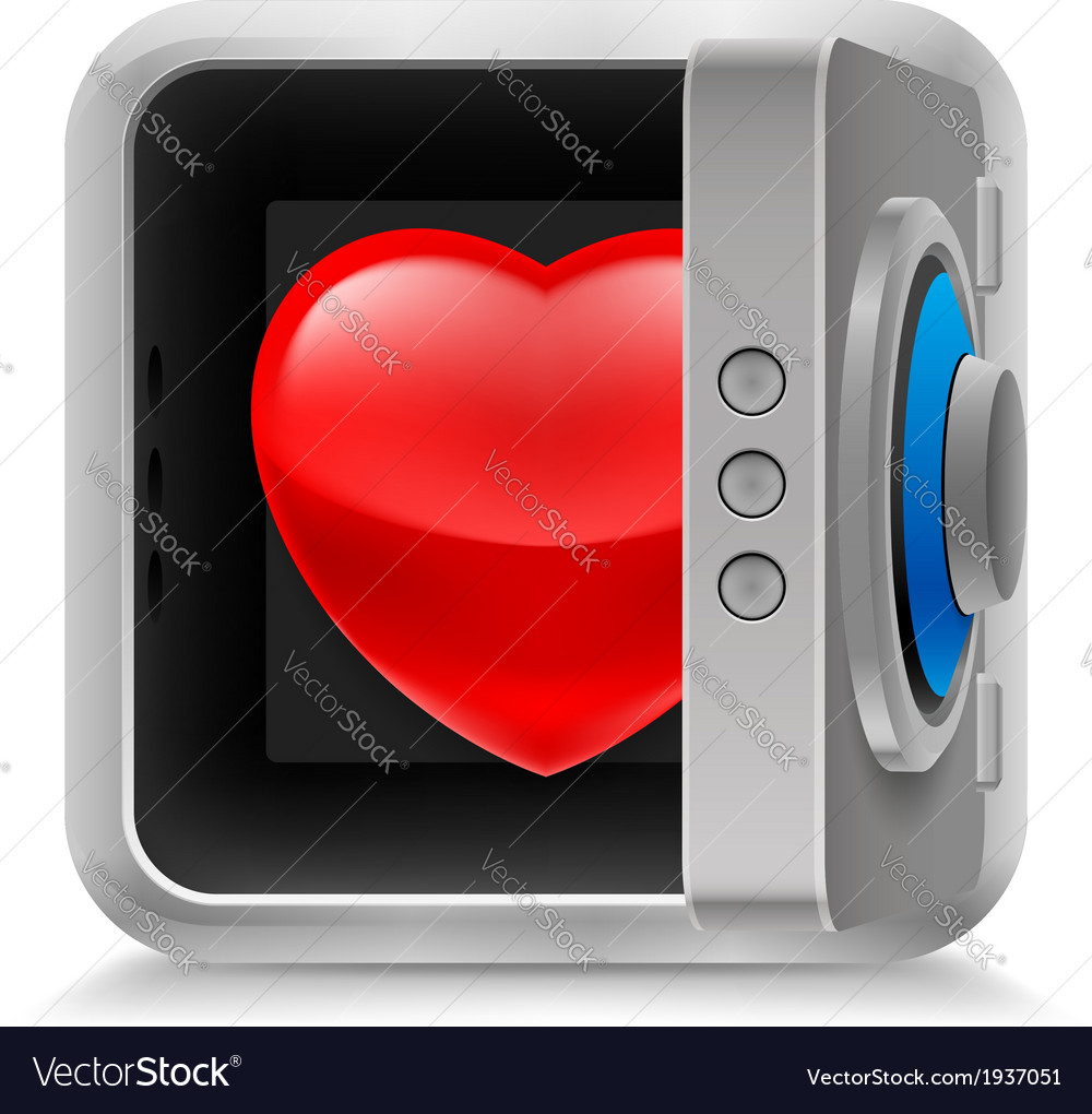 Heart in safe vector | Price: 1 Credit (USD $1)