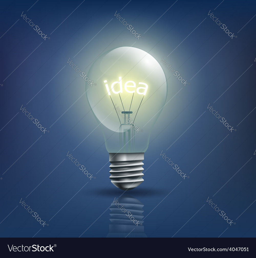 Incandescent light bulb with the word idea instead vector | Price: 1 Credit (USD $1)