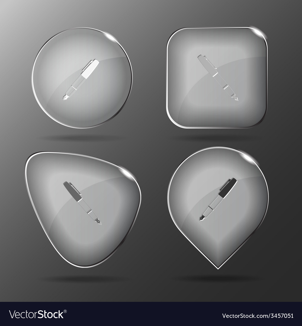Ink pen and pencil glass buttons vector | Price: 1 Credit (USD $1)