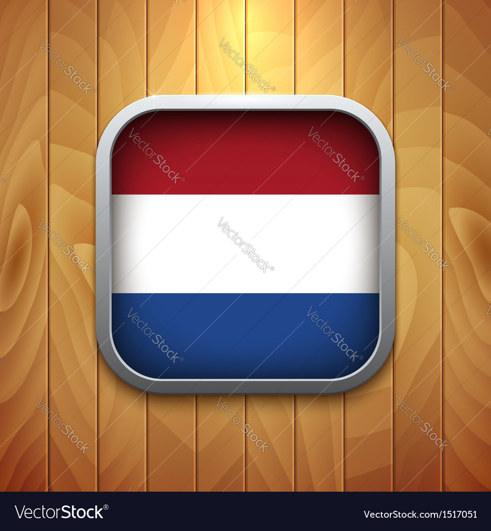 Rounded square dutch flag icon on wood texture vector | Price: 1 Credit (USD $1)