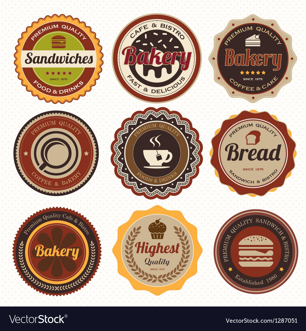 Set of vintage coffee and bakery badges and labels vector | Price: 1 Credit (USD $1)