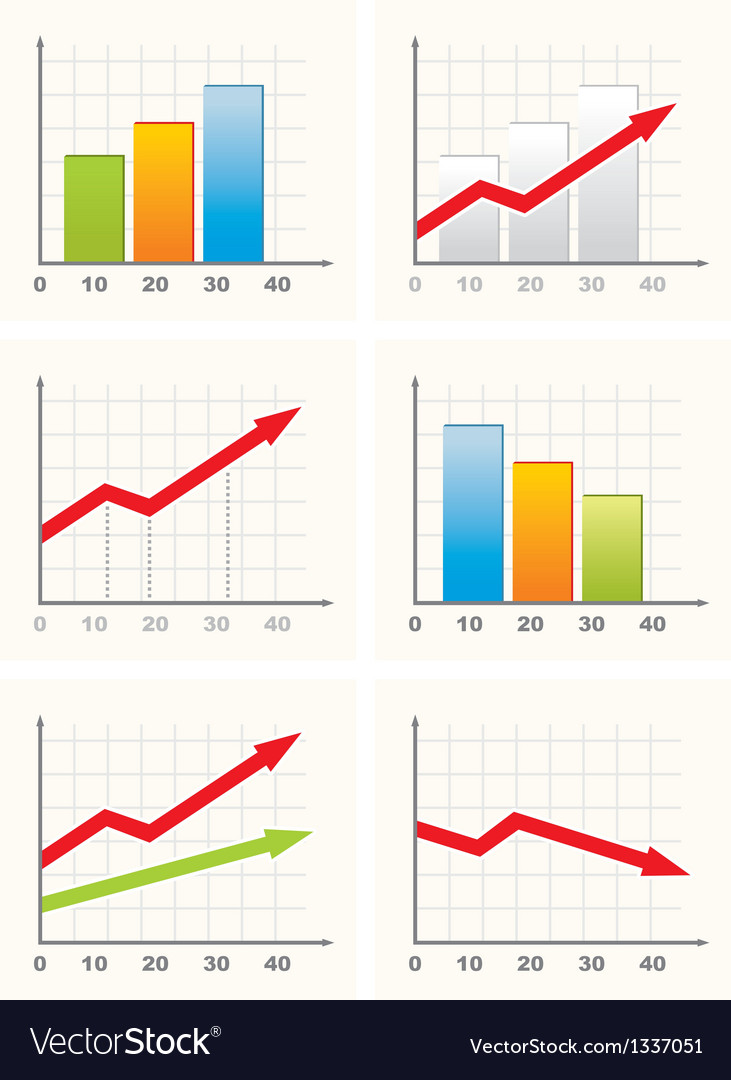 Six different business graph vector | Price: 1 Credit (USD $1)