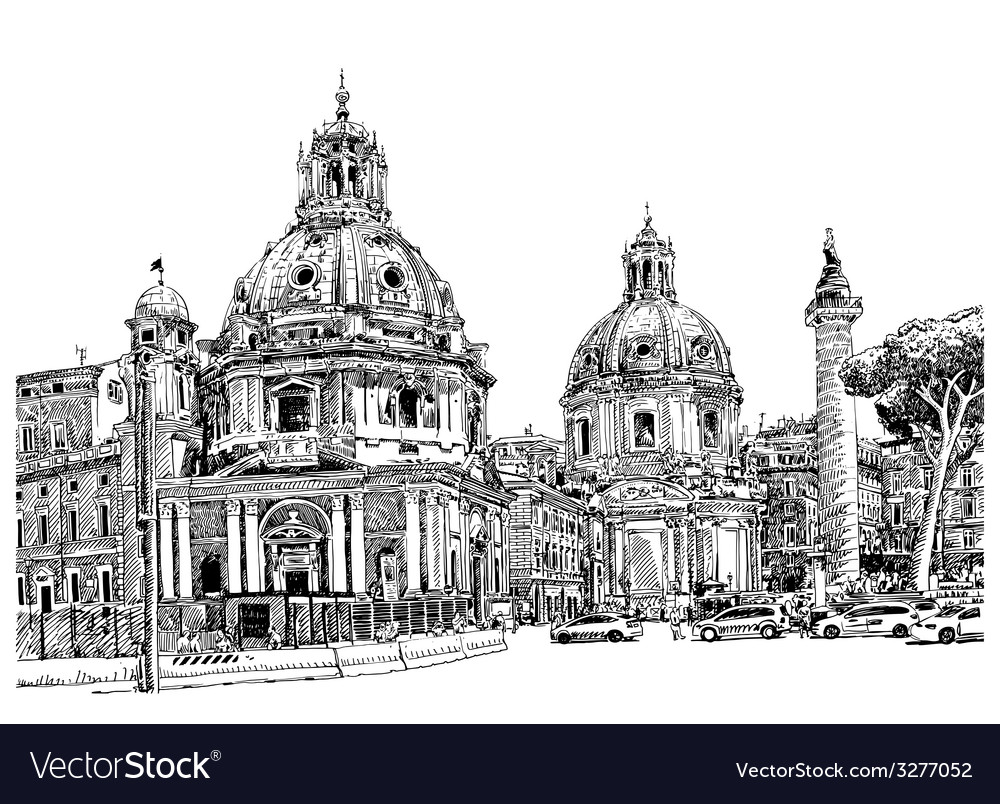 Black and white digital drawing of rome italy vector | Price: 3 Credit (USD $3)