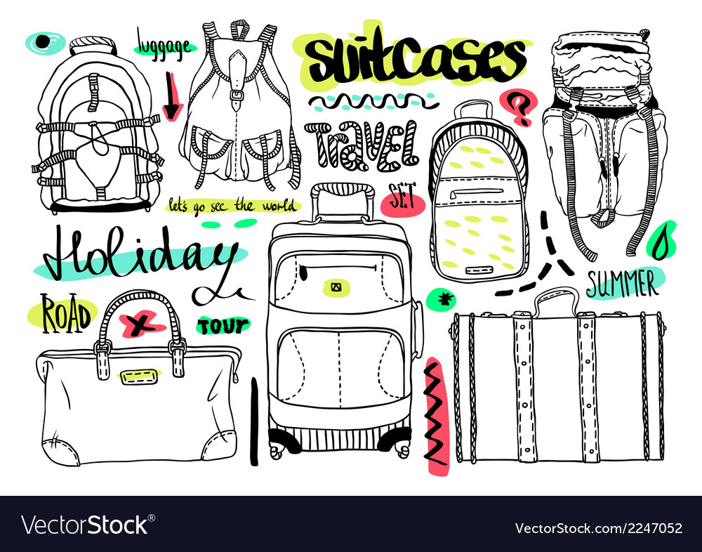Black and white set with bags for travel text vector | Price: 1 Credit (USD $1)