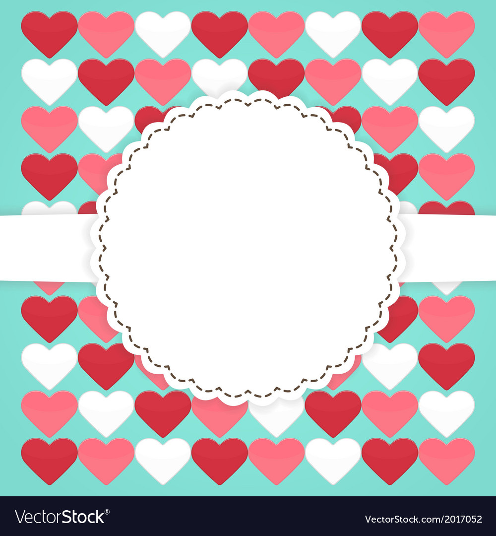 Blue card template with pink red white hearts vector | Price: 1 Credit (USD $1)