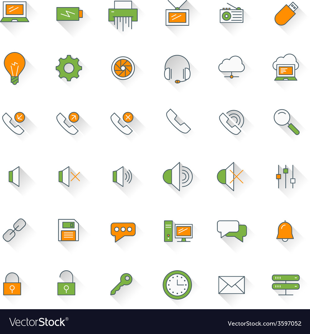 Computer and technology flat design icon set vector   Price: 1 Credit (USD $1)