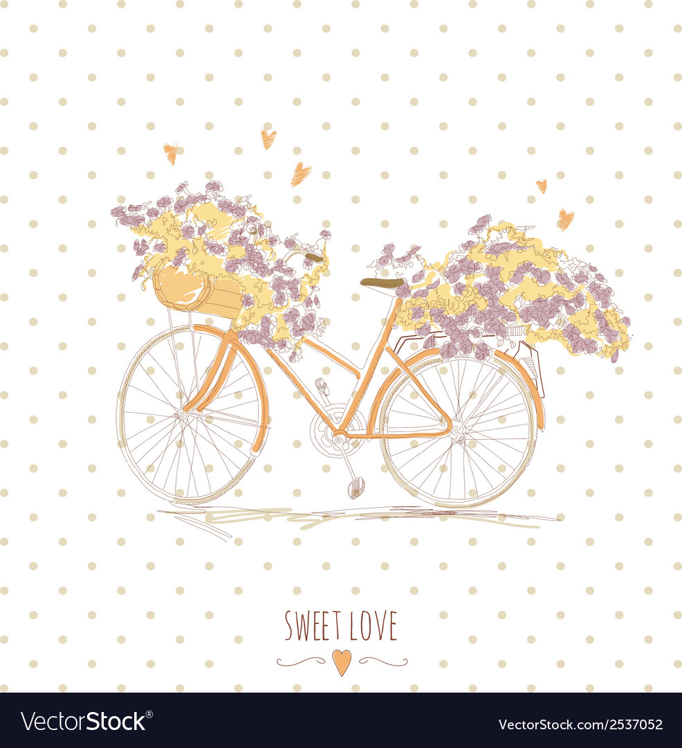Cute vintage postcard with a bike and flowers vector | Price: 1 Credit (USD $1)