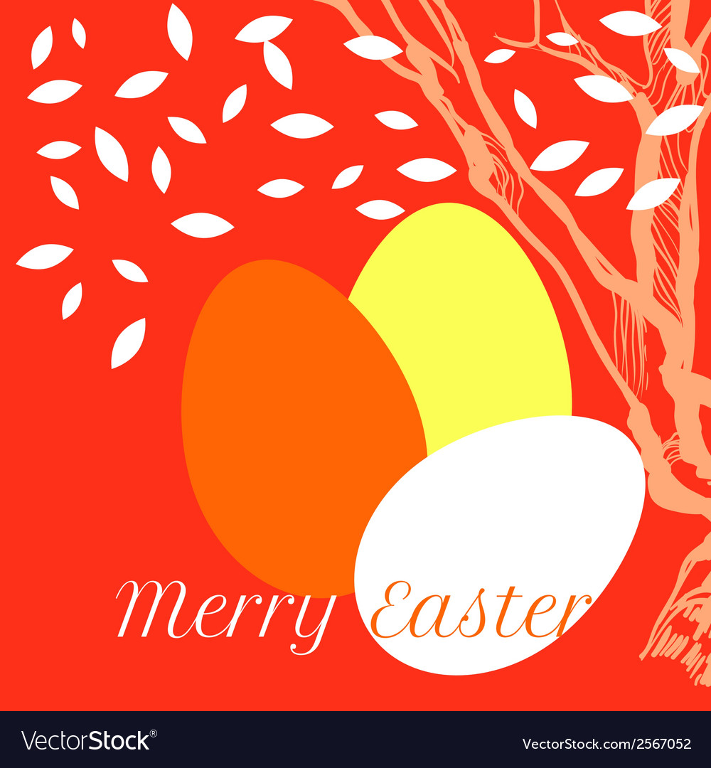 Easter eggs on background with tree and leaves vector | Price: 1 Credit (USD $1)