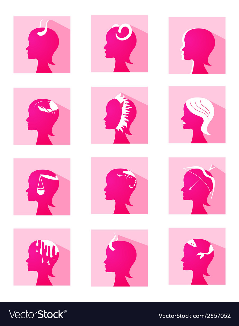Icons zodiac female profiles vector | Price: 1 Credit (USD $1)