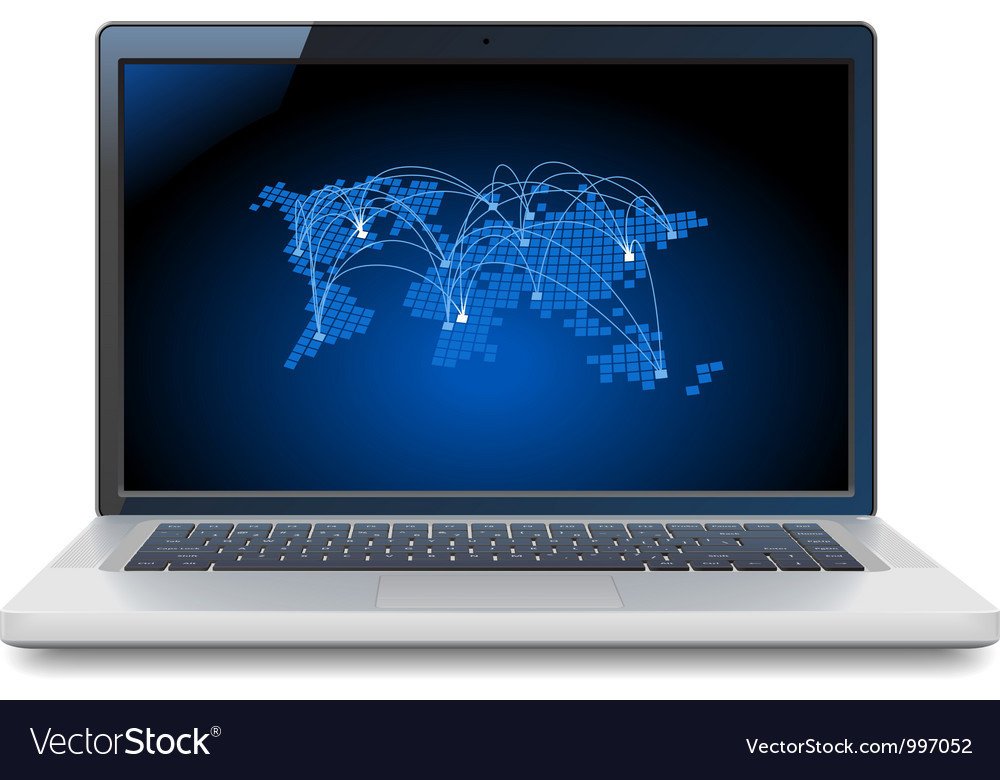 Laptop with world map vector | Price: 1 Credit (USD $1)