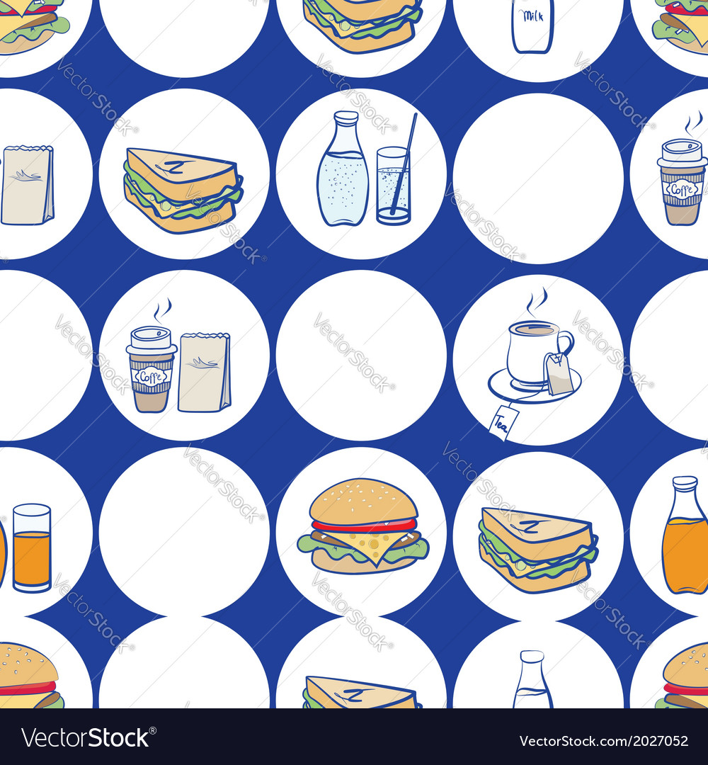 Lunch breakfast and fast food seamless pattern vector | Price: 1 Credit (USD $1)