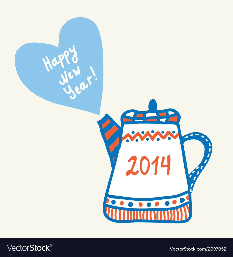 New year and christmas teapot vector | Price: 1 Credit (USD $1)