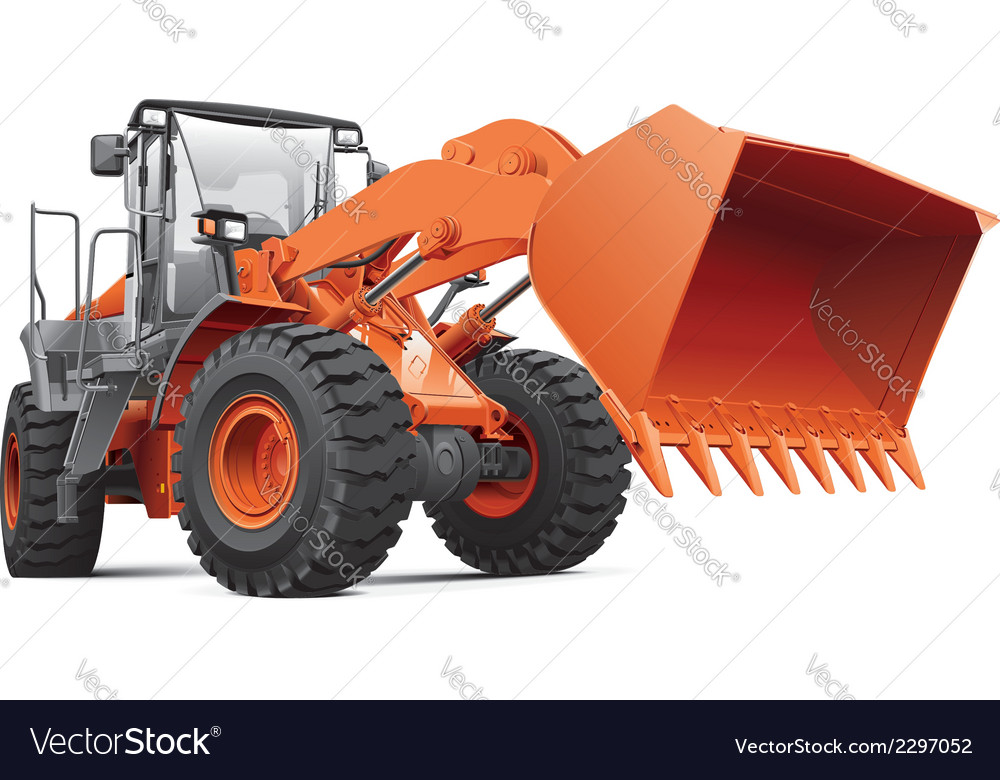 Orange front end loader vector | Price: 3 Credit (USD $3)