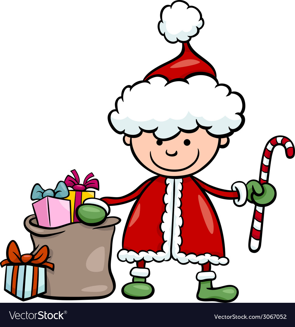 Santa claus kid cartoon vector | Price: 1 Credit (USD $1)