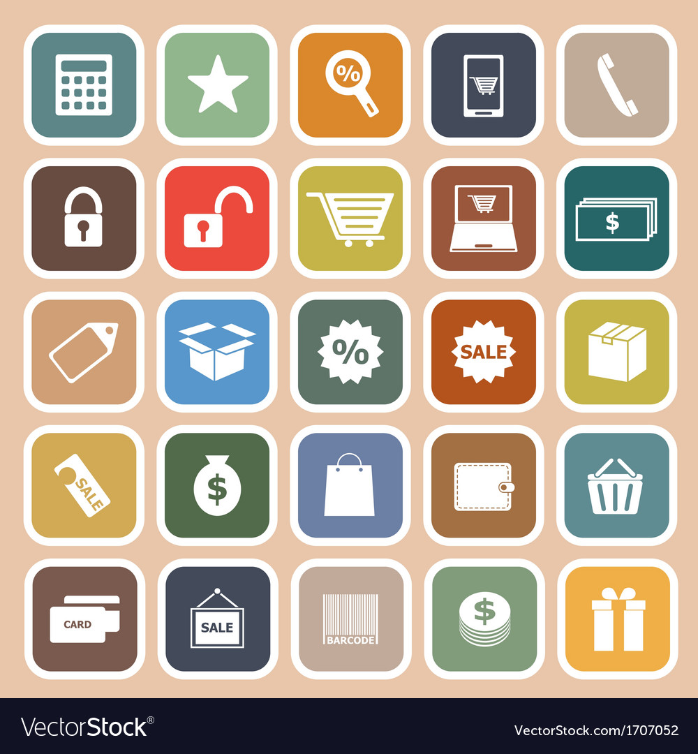 Shopping flat icon on orange background vector | Price: 1 Credit (USD $1)