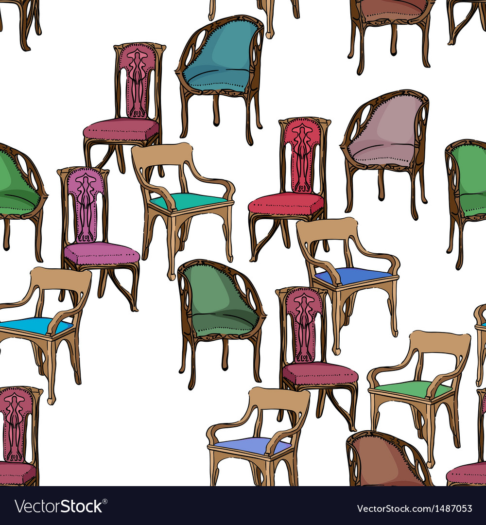 Art nouveau furniture pattern vector