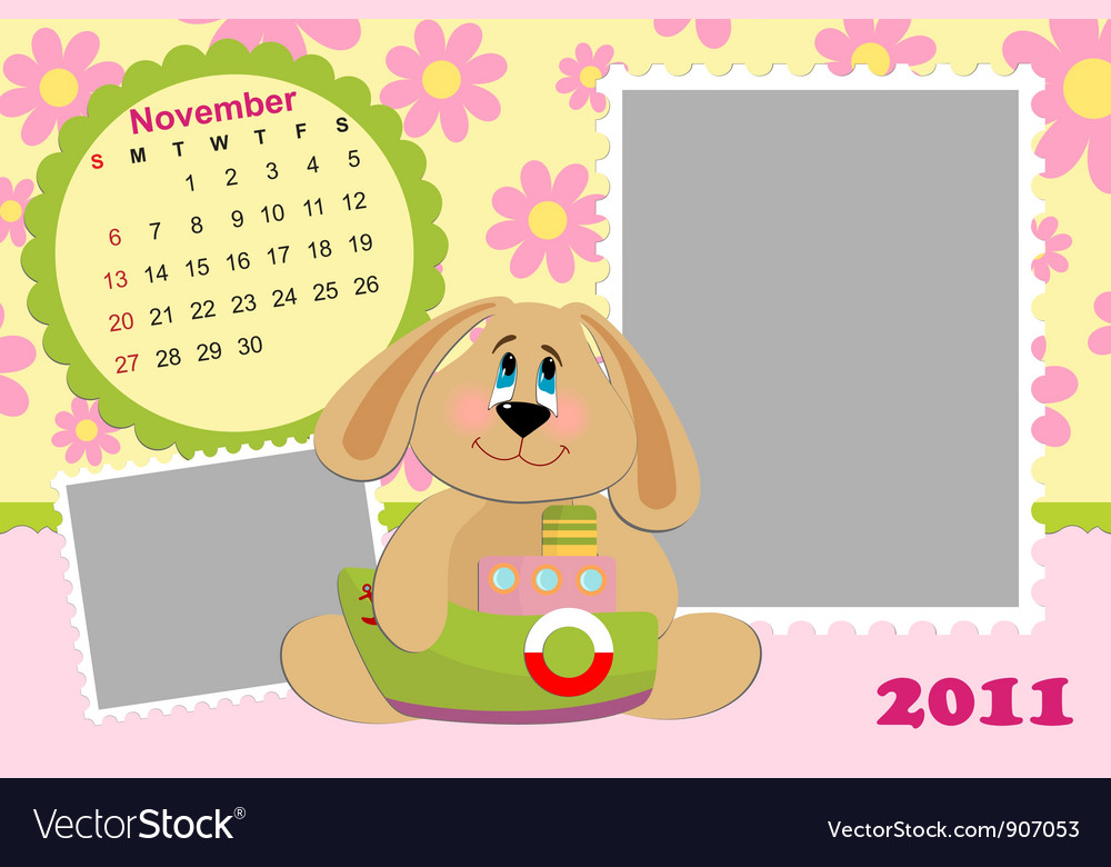Babys monthly calendar for november 2011s vector | Price: 1 Credit (USD $1)