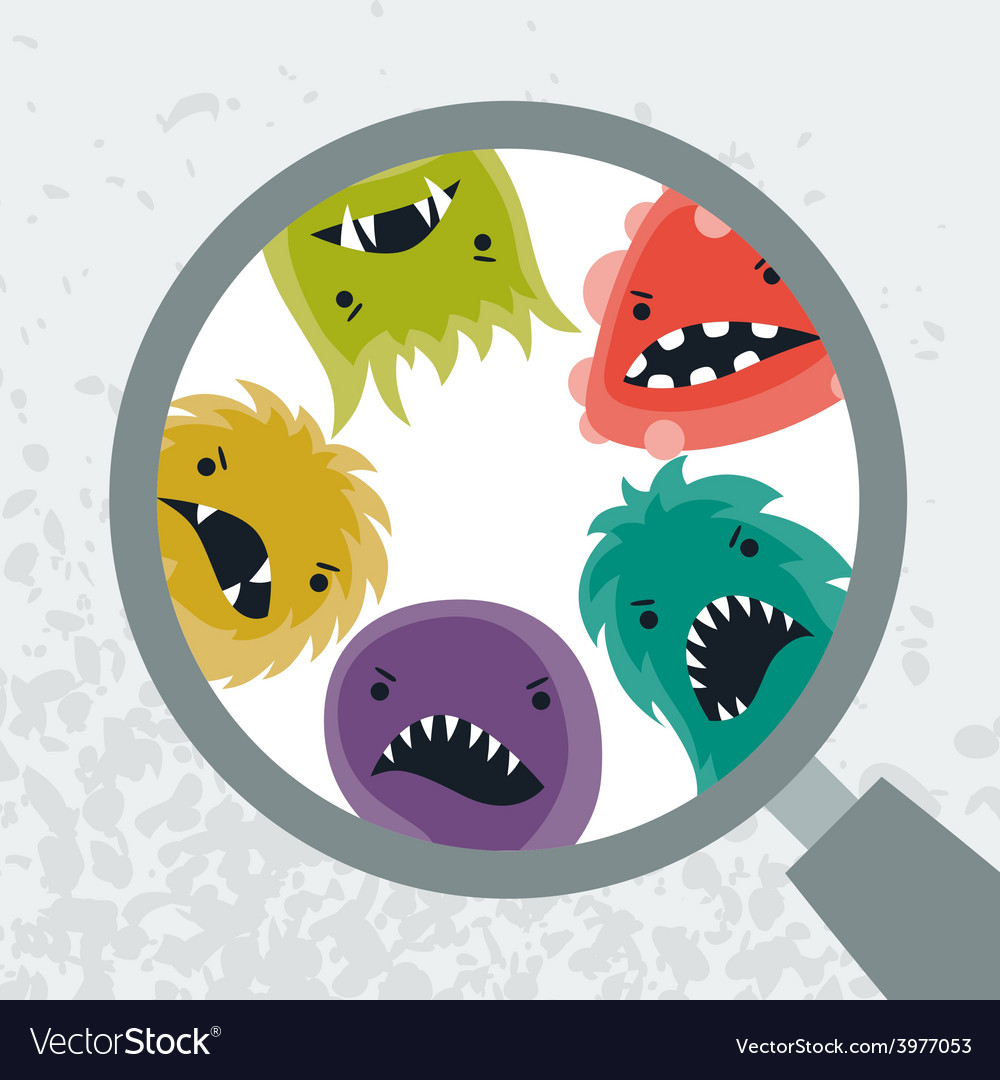 Background with little angry viruses and magnifier vector | Price: 1 Credit (USD $1)