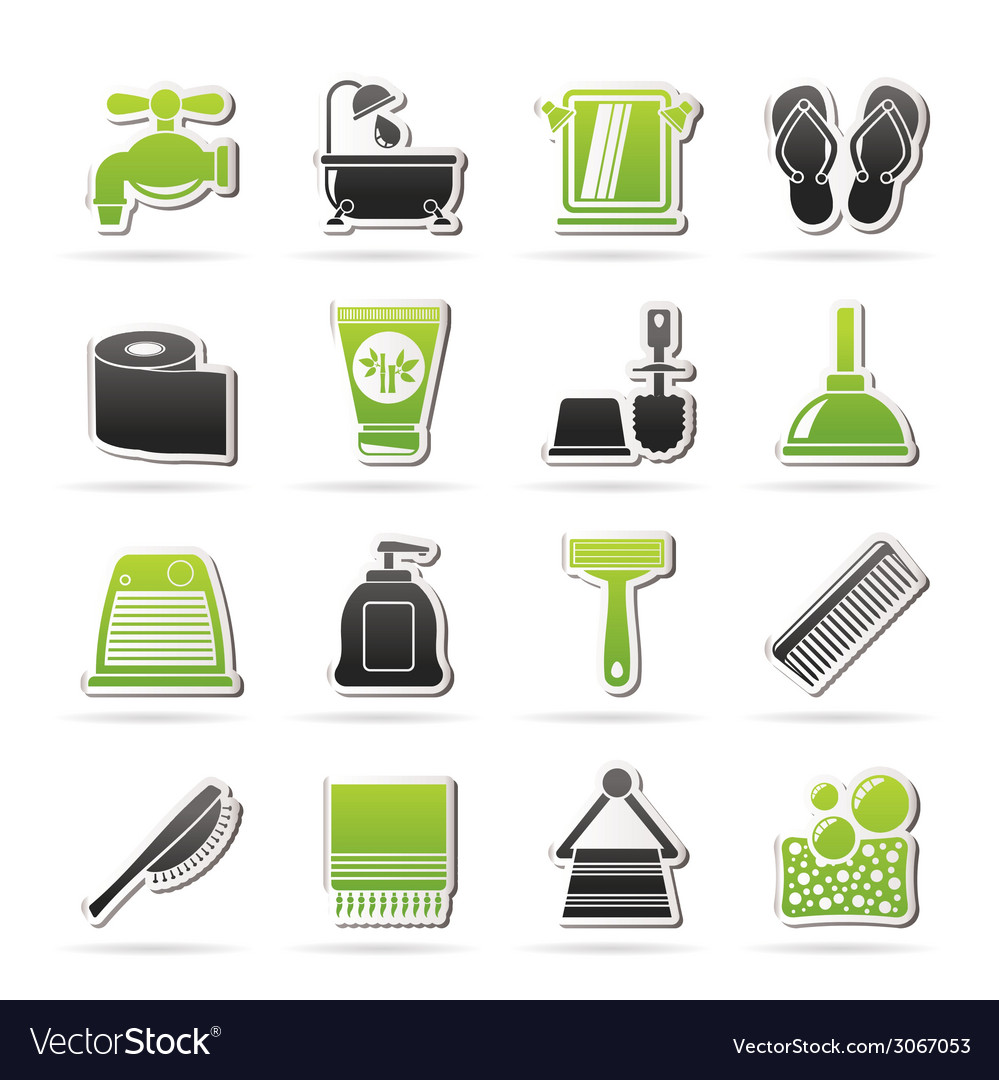 Bathroom and personal care icons vector   Price: 1 Credit (USD $1)